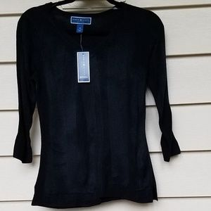 Karen Scott Petites 100% acrylic sweater black PS